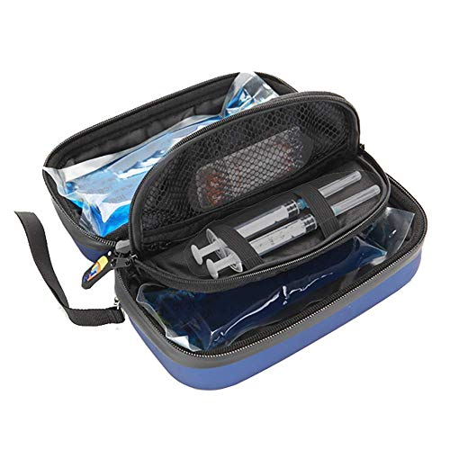YUXINCAI Mini Portable Insulin Cooler Case, Double Layer Handy Medication Insulated Diabetic Carrying Cooling Bag for Diabetic Insulin Pen And Vials Storage with 4/6 Cooling Ice Packs,4 ice packs