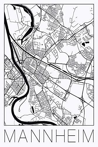 Artland Qualitätsbilder I Poster Kunstdruck Bilder Städte Deutschland Digitale Kunst Schwarz/Weiß E7AV Retro Karte Mannheim Deutschland Schwarz und Weiß