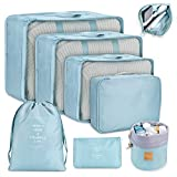 Packing Cubes for Suitcase, DIMJ 8 Pack Travel Luggage Organiser Set Travel Essentials Bag Clothes Shoes Cosmetics Toiletries Bag (Blue Color)