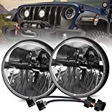 7 inch LED Headlight 2PCS Round LED Headlamp with Cree Chips High Low Beam DOT Approved H6024 Compatible with J-eep Wrangler JK LJ TJ CJ