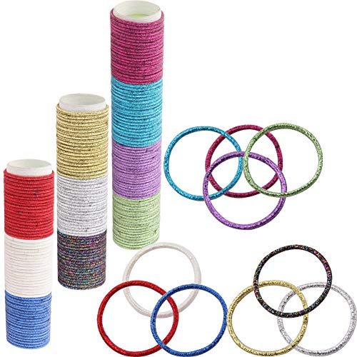 Strong Elastic Hair Ties – 200 Count 2mm/ 3.5' Glitter No Metal Rubber Hair Bands, No Pull Ponytail holder, Great for Thin Curly Hair, Daughter, Girls, Pets, Daily Wear