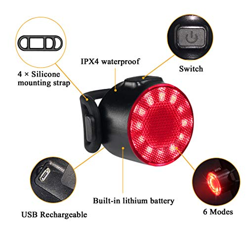 LED Bike Lights Set, USB Rechargeable 6 Brightness Modes Options Waterproof Bicycle Lights Set, Battery Powered Cycling Front and Rear Light Perfect for Mountain or Road Bike