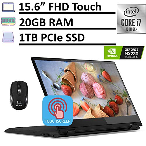 2020 Latest Lenovo IdeaPad Flex 15 2-in-1 Laptop, 15.6' FHD IPS Touchscreen, 10th Gen Intel Core i7-10510U 20GB RAM 1TB PCIe SSD, GeForce MX230 2GB, Fingerprint Backlit KB Win 10 + ePark Mouse