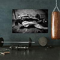 ジムポスターフィットネス女性プッシュアップ強い女性ボディービルポスター女の子ワークアウトキャンバスプリントスポーツルームホームジム壁アート装飾40x60cmCuadros de pared deSalaフレームなしY46