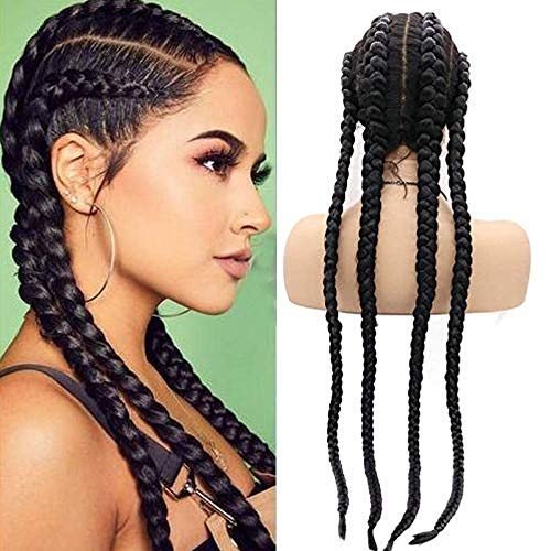 Long 100% Hand Braided Wigs for Black Women Swiss Lace Front Wigs Natural Black Twist 4x Braided Wigs with Baby Hair Natural Hairline Box Braided Lightweight Synthetic Wig Heat Safe Drag Queen 30''