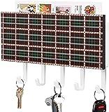 Organizador de sobres para correo de entrada con 5 ganchos para llaves montado en la pared, elegante Thompson Camel Tartan Plaid Pattern, estante de madera rústica para correo con ganchos para llaves