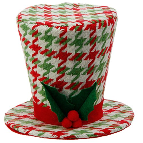 Green and White Houndstooth Top Hat Tree Topper