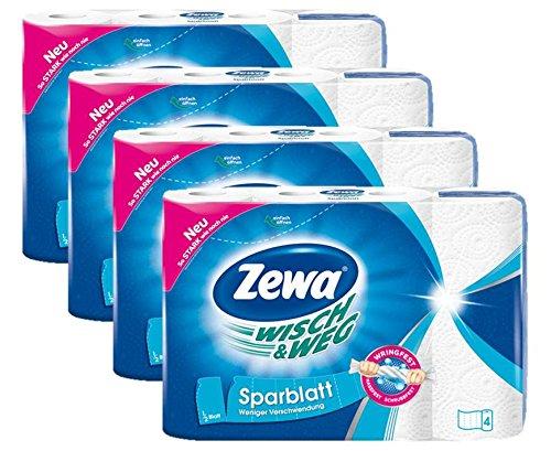 Zewa Wisch und Weg Küchenrollen Sparblatt, trennbare Wischtücher für sparsame Nutzung, 4 x 4 Rollen (16 x 74 Blatt)