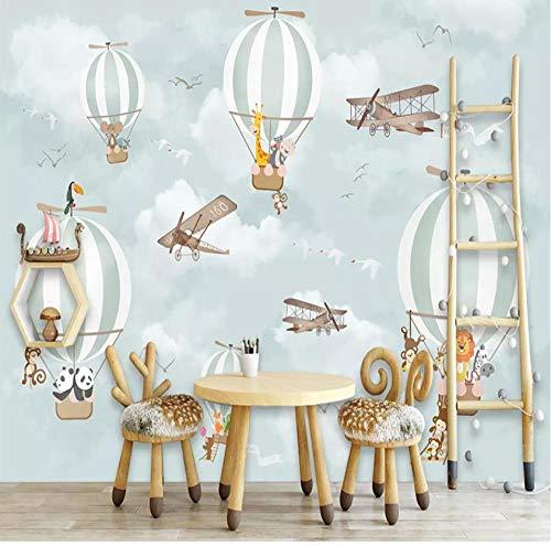 Wallpaper papel tapiz personalizado no tejido HD KTV cafe sala de estar TV pared dormitorio infantil dibujos animados pintados a mano avión globo aerostático animal tigre