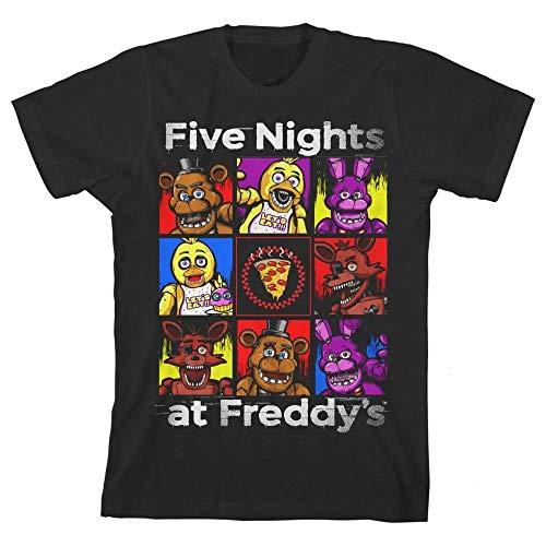 Camiseta infantil Five Nights at Freddy's Character Squares para meninos licenciada FNAF, Preto, Large