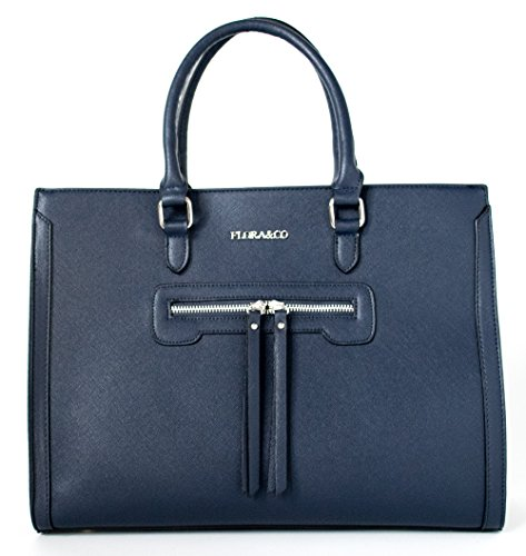 Flora + Co Jet Set Marine Saffiano Handtasche Businessbag