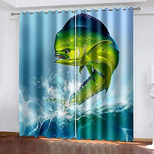 Cortinas Opacas 3D, Cortinas De Fibra De Poliéster Impermeables Y A Prueba De Moho, Coloridos Peces De Dibujos Animados para Sala De Estar, Oficina Y Dormitorio (2 Paneles) 250 (H) X150 (W) Cmx2