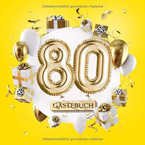 80 Gästebuch: Gelbe Deko zum 80.Geburtstag für Mann oder Frau - 80 Jahre Geschenk - Partydeko Gelb...