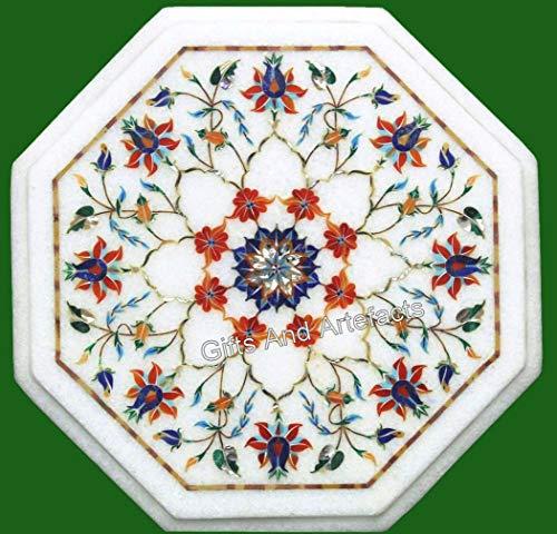 Gifts And Artefacts Table basse avec pierres semi-précieuses incrustées de marbre octogonale, design unique 35,6 cm