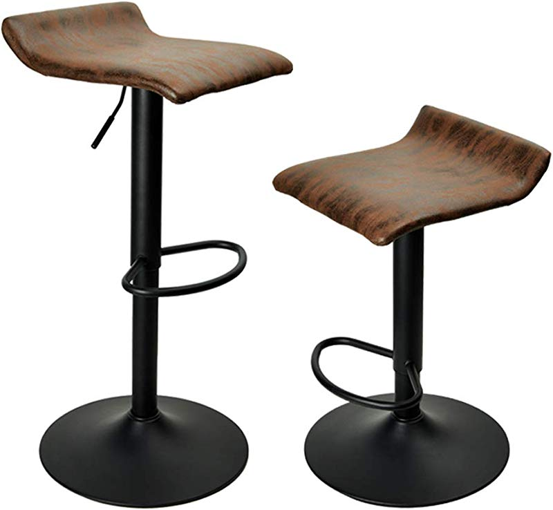 PRAISUN Bar Stools Set Of 2 Swivel Counter Chairs For Kitchen Height Adjustable Barstool With Vintage Fabric Matte Base Brown