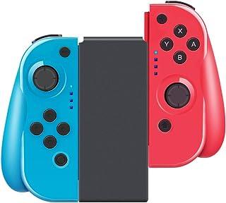 scorel Nintendo Switch コントローラーJoy-Con の代用品 グリップ付き/HD振動・ジャイロ搭載 (R) レッド/ (L) ブルー 日本語説明書付き