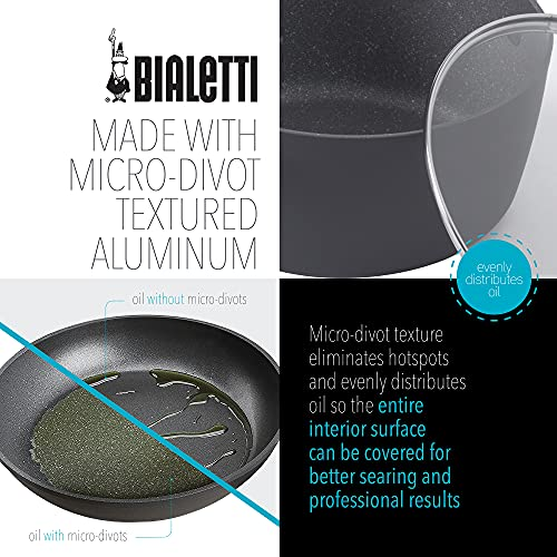 Bialetti Impact, , textured nonstick surface, oil distribution,covered 5 quart dutch oven, gray