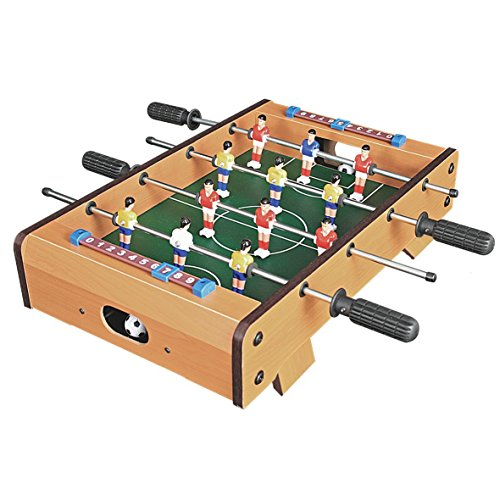 Invero® Deluxe Mini Wooden Table Top Football Foosball Family Fun Game - Indoor and Outdoor Soccer Set includes 12 Men, 2 Balls, 2 Scorers - 51 x 51 x 10 cm