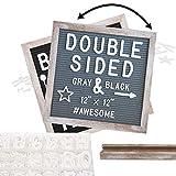 Rustic Wood Frame Felt Letter Board 12x12 inches. Pre-Cut Letters. Additional Symbols & Em...