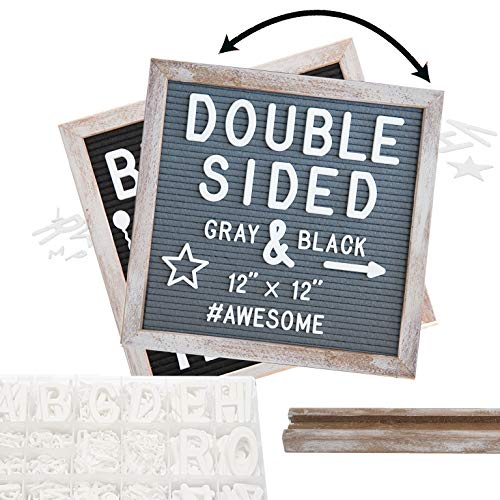 Rustic Wood Frame Felt Letter Board 12x12 inches. Pre-Cut Letters. Additional Symbols & Emojis, Letter Storage Case, Farmhouse Block Stand