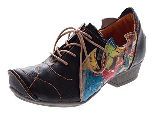 TMA Leder Damen Halbschuhe Schnürer Schwarz Comfort Schuhe echt Leder Pumps 8088 Gr. 38