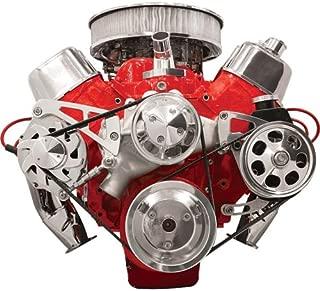 NEW BILLET SPECIALTIES BIG BLOCK CHEVY POLISHED FRONT ENGINE SERPENTINE CONVERSION KIT WITH KEYWAY POWER STEERING PUMP PULLEY & BRACKET, MIDDLE PASSENGER-SIDE ALTERNATOR MOUNTING BRACKET, BBC WATER PUMP, CRANK, & ALTERNATOR PULLEYS