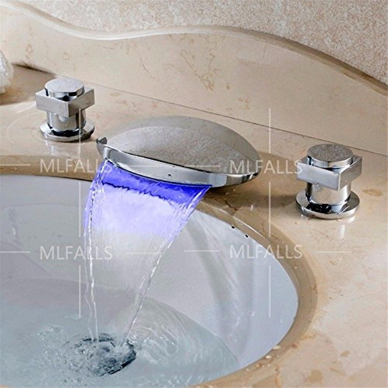 NewBorn Faucet Wasserhhne Warmes und Kaltes Wasser groe Qualitt Moderne Doppel-LED mit Drei Loch fllt Wasser Auslass ventil Kaltes Wasser Keramik Badezimmer Waschtisch Armatur