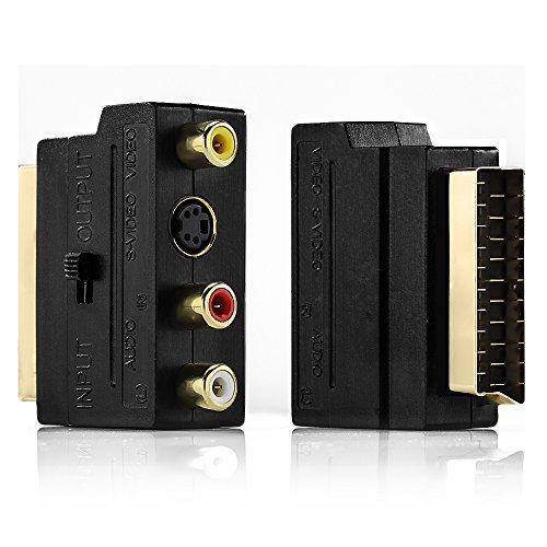 deleyCON Adaptador de Euroconector a 3X RCA Conectores En Conmutador + S-Video Audio S-VHS AV Adaptador de Vídeo