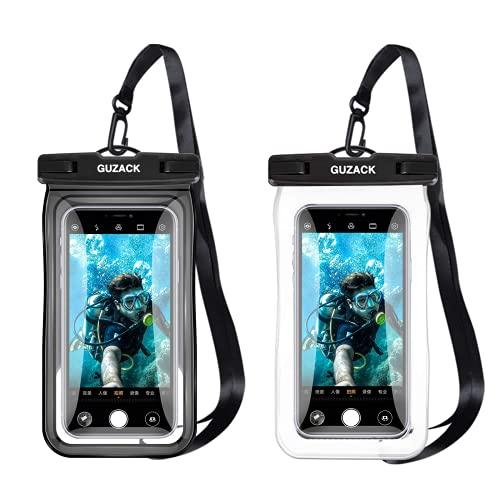 Schwimmende wasserdichte Handy-Tasche [2 Stück], schwimmfähige Handy-Hülle mit Umhängeband für iPhone, Samsung, LG, Xiaomi, Huawei, bis zu 6,9 Zoll