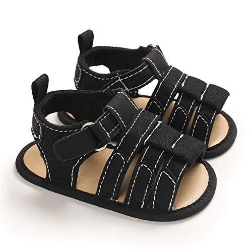 Isbasic Infant Baby Boys Girls Summer Beach Sandals Breathable Athletic Anti-slip Soft Sole Newborn First Walker Crib Shoes(C615 black,3)