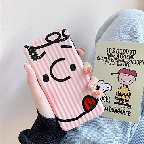 Mobiele telefoon geval, leuk blokkeren gezicht, grappig, cartoon, paar, eenvoudige, gepersonaliseerde koffer strepen, gebogen koffer, 7p / 8plus right tongue Snoopy