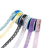 YuamMei 5 rollos de cinta de encaje hueco para manualidades, papel adhesivo decorativo para álbumes de recortes y teléfono (color al azar, patrón)