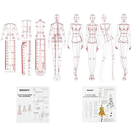 8PCS Reglas de ilustración de moda, Juego de reglas de plantilla de dibujo de moda Diseño de patrones humanoides de costura