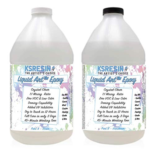 Liquid Art Clear Epoxy Resin Coating for Canvas & Wood Art - 1 Gallon Kit
