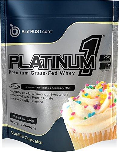 BioTrust Platinum1 Premium Grass Fed Whey Protein, Ultra-Pure, Ultra-Clean, 100% Hydrolyzed Whey Protein Isolate - Vanilla Cupcake