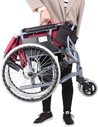 Hyy-yy Discapacitados en silla de ruedas de aluminio silla de ruedas de peso ligero plegable con asiento ajustable Cinturón, Folding Tamaño 65 * 26 * los 67CM, Rojo, Apto for mayores ya las personas n