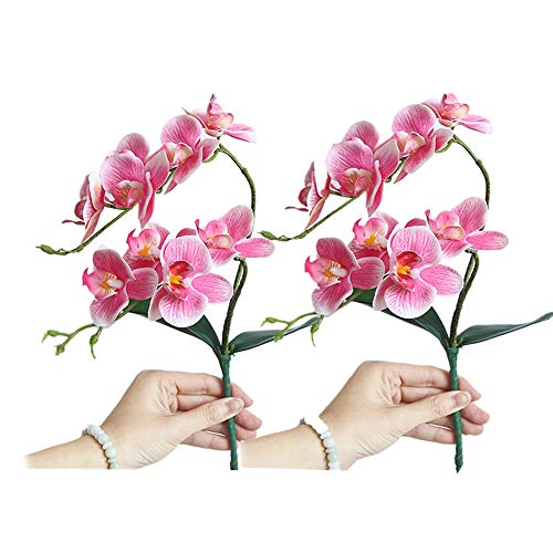 Fellibay Künstliche Phalaenopsis Orchidee 2 Köpfe Orchidee Pflanze Seidenblume Phalaenopsis Bouquet Home Hochzeit Decor 2er-Pack, dunkelrosa, 18.50in
