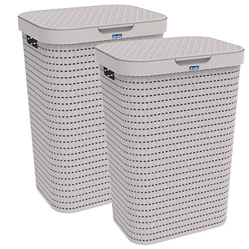 Rotho Country 2er-Set Wäschesammler 55l mit Deckel, Kunststoff (PP) BPA-frei, Cappuccino, 2x55l (42,0 x 32,2 x 57,7 cm), 42 x 32