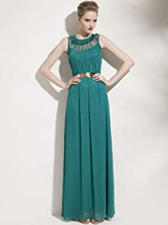 ABDKJAHSDK Summer New Arrival Round Neck Hollow Woman Chiffon Long Dress