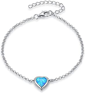 FANCIME Sterling Silver Created Blue Opal Bracelets Heart/Oval/Marquise/Round Link Cable Chain Dainty Charm Fine Jewelry for Women Girls 6+2 inch extender