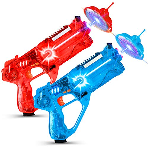TOYSZND Infrared Toy Guns: Set of 2 Launchers with Flying Saucer Pocket Drone Shooting Targets, Red Blue Tag Blaster Quadcopter Game for Boys and Girls