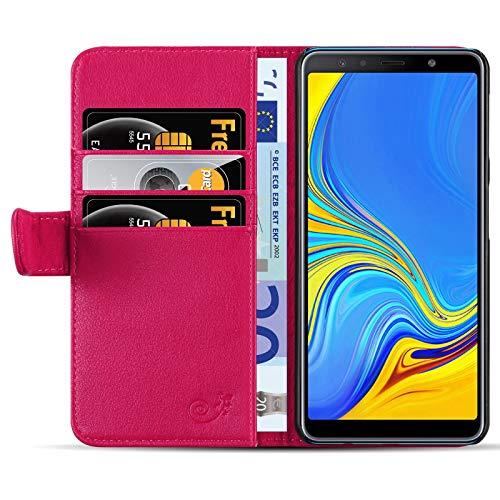 JAMMYLIZARD Custodia Portafoglio per Samsung Galaxy A7 2018 | Cover a Libro Classic Wallet Flip Case in Pelle, Fucsia