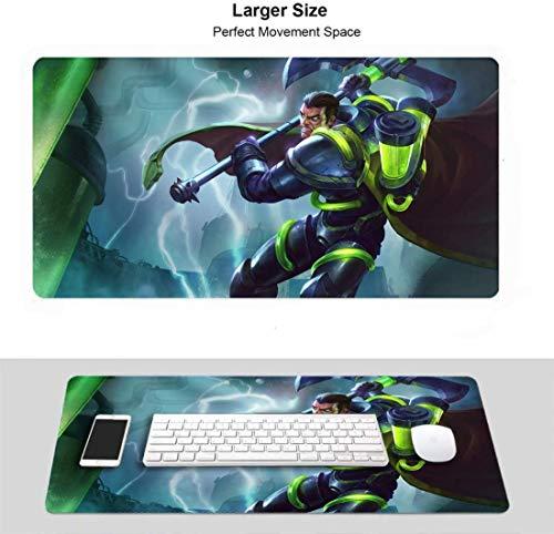Erweitertes Gaming-Mauspad Professionelles Gaming-Mauspad (29,5 x 15,7 Zoll) für Ligen der Legenden, LOL-genähte Kanten für PC-Computer-Laptop (Champions Darius Bioforge)