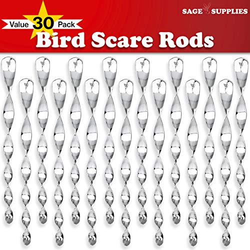 Sage Supplies 30 Pack Bird Deterrent Spiral Scare Rods, Reflective Hanging Device for Deterring Woodpeckers and Pigeons, Decorative Spinners to Keep Birds Away