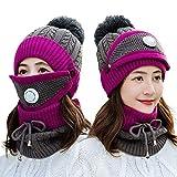 Establecer la cara 3 sombreros invierno de las mujeres de punto de terciopelo grueso del oído protector Skullies Beanie sombrero de montar Caps Mujer de lana caliente casquillo caliente bufanda de pun