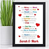 I Love You Couples Personalised VALENTINES DAY GIFTS for Him Her Mr Mrs - PERSONALISED ANY NAMES for Anniversary, Birthday - Black or White Framed A5, A4, A3 Prints or 18mm Wooden Blocks