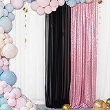 Telón de fondo Telón de fondo de lentejuelas de oro rosa Telón de fondo de pared de lentejuelas de 24 'x8FT Telón de fondo rosa fucsia para fiesta de cumpleaños Fotografía de telón de fondo de 2FTx8FT