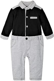 Fairy-Baby Toddler Babys Romper Clothes Boys Fake 2 pcs Cotton Contrast Color Jumpsuit Long Sleeve Autumn Snap Pants Babys Daily Outfit Jumpsuit (Color : Black, Size : 80cm)