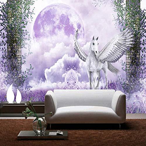 Fotobehang voor fotowand, Unicorn, creatief, schattig, dier-kunst, grootformaat druk, foto, wallpaper, poster voor thuis, woonkamer, bank, vlak, wanddecoratie, slaapkamer, veranda, achtergrond 64in×100in 160cm(H)×250cm(W)