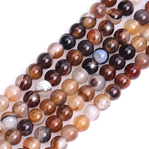 Natürlicher Kaffee-Onyx-Achat-Edelstein, Halbedelstein, rund, 6 mm, lose Perlen für Schmuckherstellung, Armband, Halskette, Handwerk, 38,1 cm